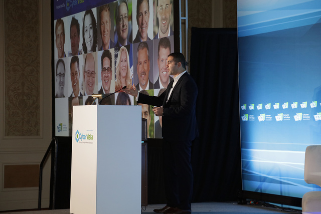 Courtesy of CyberVista.  Amjed Saffarini, CEO of CyberVista, speaks at the 2016 Cybersecurity Forum at CES.