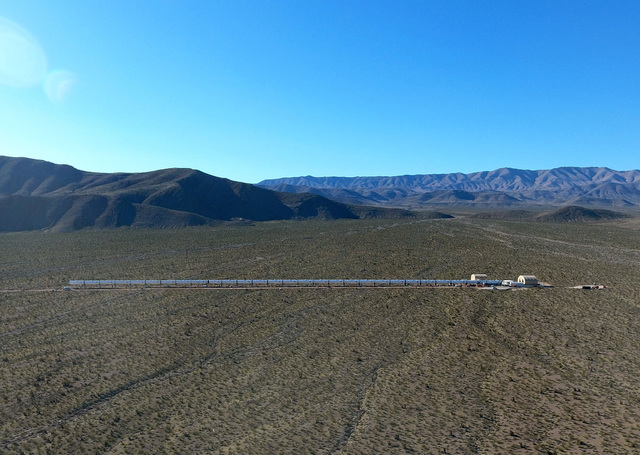 Michael Quine/Las Vegas Business Press A segment of the Hyperloop project, as seen from the air on February 14, is part of the Apex Industrial Park located 30 miles North of Las Vegas.