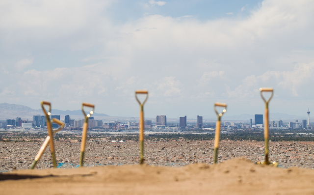 Shovels are seen following the groundbreaking of the first home to be built in Ascaya, a luxury home development, in the hills of the McCullough mountain range in Henderson on July 7, 2015. (Chase ...