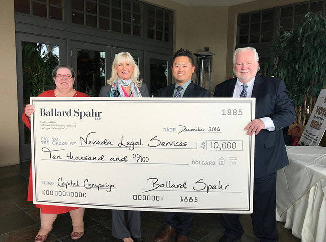Ballard Spahr contribution at Clark County Bar luncheon kicks-off Nevada Legal Services' capital campaign.  Pictured, from left, are AnnaMarie Johnson, Executive Director, Nevada Legal Services; K ...