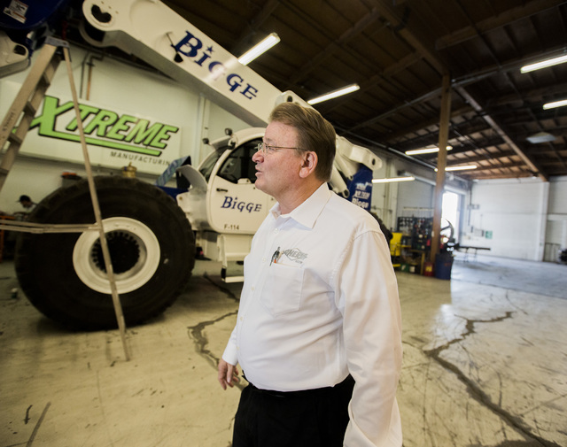 Don Ahern, founder of the equipment rental empire that bears his name, on the factory floor at Xtreme Manufacturing, 1415 West Bonanza Road. The locally owned rental and manufacturing company is e ...