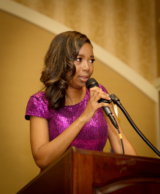 The Nevada Association of Real Estate Brokers 2017 President Shanta Patton addressed a crowd of 260 at The Orleans Jan. 29. (TONYA HARVEY/LAS VEGAS BUSINESS PRESS)
