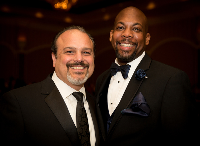 From left, Iddo Gavish, owner of Century 21 Gavish; and Shawn Gibson, real estate agent with Century 21 Gavish, attend the Jan. 29 Nevada Association of Real Estate Brokers Gala. (TONYA HARVEY/LAS ...