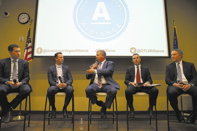 Owner of the D, Golden Gate and Downtown Las Vegas Events Center Derek Stevens, center, speaks downtown Las Vegas in part of a panel on Thursday, Feb. 2, 2017. Downtown Vegas Alliance held a panel ...