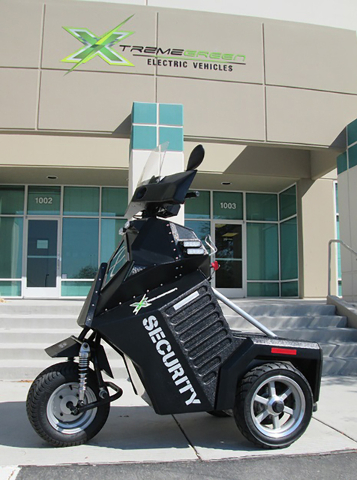Xtreme Green Electric Vehicles developed the Sentinel PMV, a three-wheel police mobility vehicle, at its North Las Vegas facility.  (Courtesy)