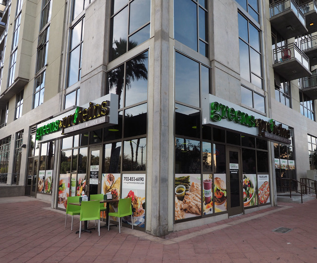 Greens & Proteins is one of the corner anchor stores at The Promenade at Juhl in downtown Las Vegas. (Jerry Henkel/Las Vegas Business Press)