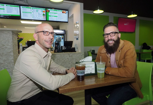 KRE Capital partner Uri Vaknin, left, and Greens and Proteins' managing partner Greg Jarmolowich take a break at the new juice bar in Juhl, a downtown high-rise. (Jerry Henkel/Las Vegas Business P ...
