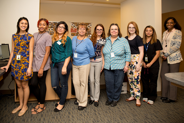 Clinic staffers are from left, Breanna Bartollome, Taylor Holmes, Janette Gonzalez, Graciela Aceves, Maria Rum, Elizabeth Adams, Mary McDonough, Diamante Centeno and Tia Wade. (Tonya Harvey/Las Ve ...
