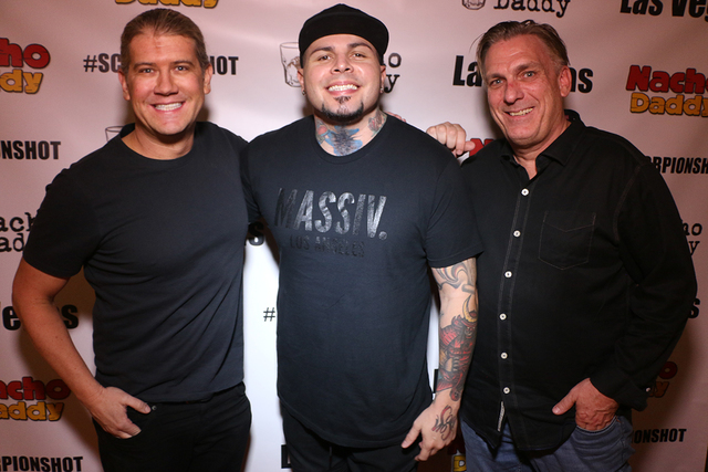 President and Managing Partner of Nacho Daddy Paul Hymas, DJ Stellar and Mark Evensvold pose for a photo at the company's first Strip restaurant. (Courtesy of Nacho Daddy)