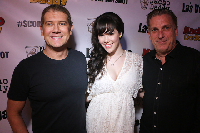 President and Managing Partner of Nacho Daddy Paul Hymas and Director of Operations Mark Evensvold with entertainer Claire Sinclair, formerly of Pin Up at Stratosphere. (Courtesy of Nacho Daddy)