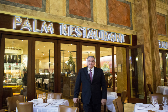 Larry Close, general manager of Palm Restaurant, in the iconic restaurant in the Forum Shops at Caesars Palace. (Elizabeth Brumley/Las Vegas Business Press)