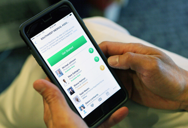 Southwest Medical's NowClinic conveniently can be accessed by patients on their smartphone. (Ronda Churchill/Las Vegas Review-Journal)