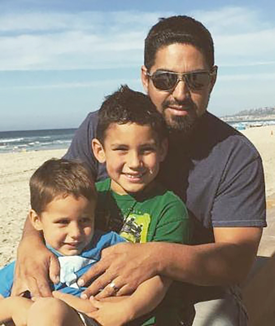 Jacob Ortega with his sons, J.J. and Mikey. The Pulte Homes construction manager died Nov. 30. (Courtesy)