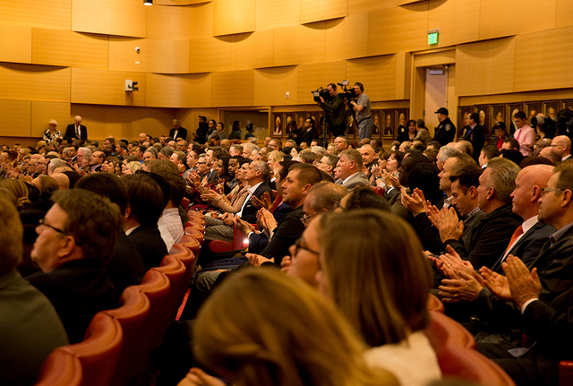 A packed City Council Chambers listen to Las Vegas Mayor Carolyn Goodman give her annual State of the City address. (TONYA HARVEY/LAS VEGAS BUSINESS PRESS)
