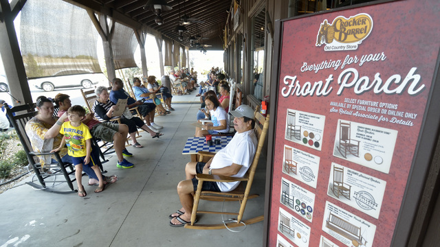 The porch at Cracker Barrel is shown at 8350 Dean Martin Drive in Las Vegas on Aug. 5. (Bill Hughes/Las Vegas Business Press)