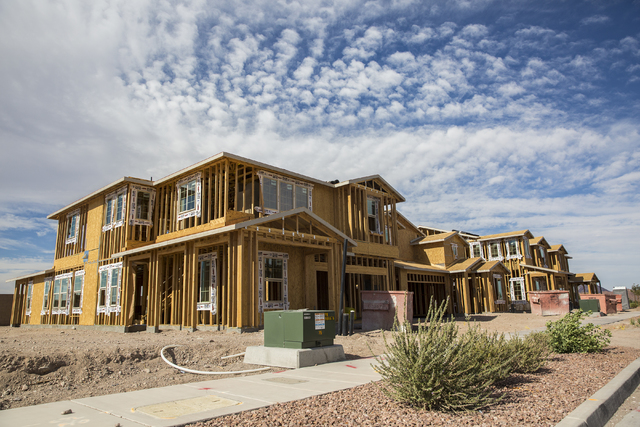 Homes near completion at Cadence, a Henderson master-planned community. (Benjamin Hager/Las Vegas Business Press)