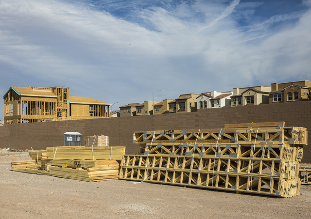 Homes near completion at Cadence, a Henderson master-planned community, on Oct. 15. (Benjamin Hager/Las Vegas Review-Journal)