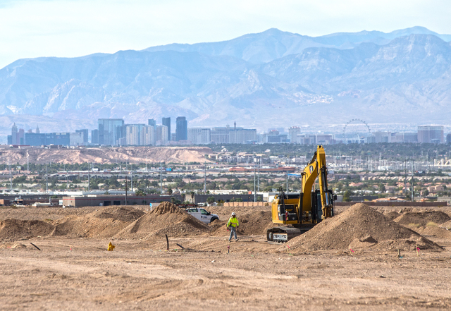 The view of the Las Vegas Strip from a construction site  at Cadence. (Benjamin Hager/Las Vegas Business Press)