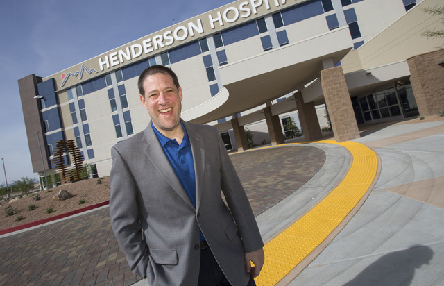 Henderson Hospital CEO Sam Kaufman poses at the hospital entrance, Friday, Oct. 7, 2016.  (Richard Brian/Las Vegas Business Press)