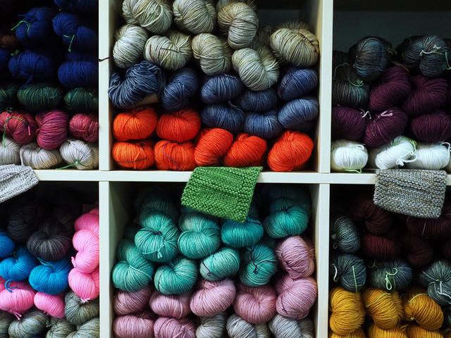 Skeins of yarn are seen at the grand opening of the Mirage Fiber Arts store at 1161 S. Buffalo Drive. (Jerry Henkel/Las Vegas Review-Journal)