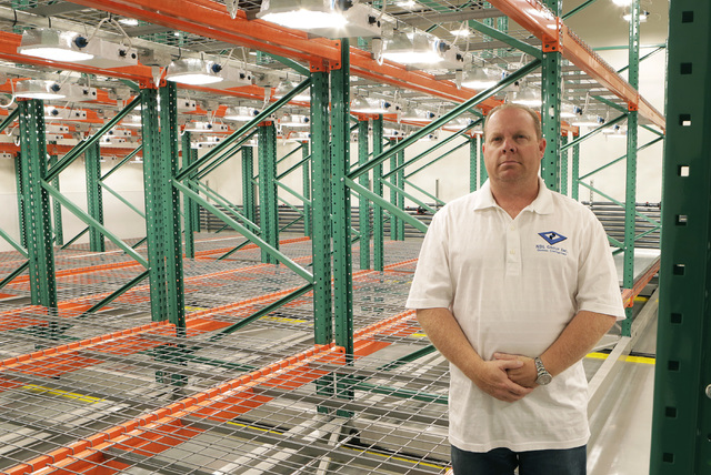 Nathan Schweigart, contractor for marijuana grow house, poses for a photo inside Vegetation Room at Green Mart cultivation facility Friday, Oct. 21, 2016, in Las Vegas. Bizuayehu Tesfaye/Las Vegas ...