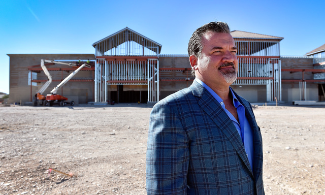 Developer David DelZotto, founder and president of Remington Nevada, looks on at his project, Mountain Edge Marketplace. (David Becker/Las Vegas Business Press)