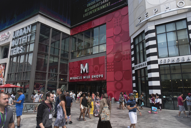 This is an Aug. 21, 2016 file photo of Miracle Mile Shops at Planet Hollywood hotel-casino in Las Vegas. The Miracle Mile Shops, the 200-store indoor mall, has been sold to an investment partnersh ...