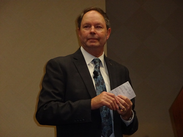 Chris Meyer, vice president of global business sales, Las Vegas Convention and Visitors Authority speaks to Las Vegas marketing executives about Las Vegas visitation numbers and projected growth.  ...