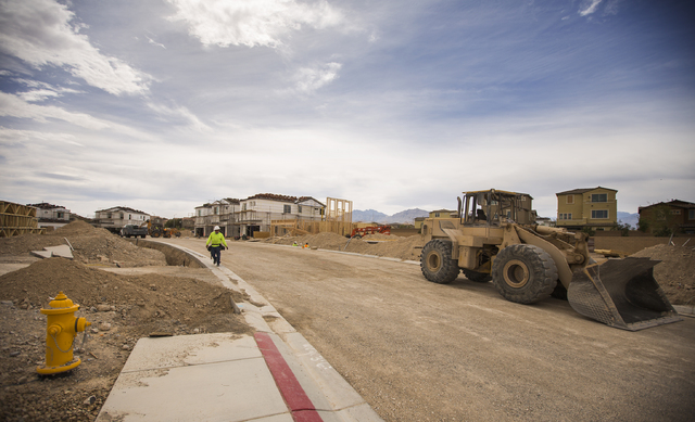 Construction at  Whisper Peak at Skye Canyon by Century Communities, is seen onMarch 21, 2016. The master plan community is located off of U.S. Highway 95 and Skye Canyon Park Drive. (Jeff Scheid/ ...