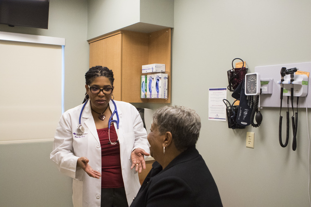 Physician Assistant Monica Hall demonstrates a patient visit at Southwest Medical Associates at 10105 Banburry Cross Drive in Las Vegas, on Friday, Dec. 2, 2016. (Miranda Alam/Las Vegas Review-Jou ...