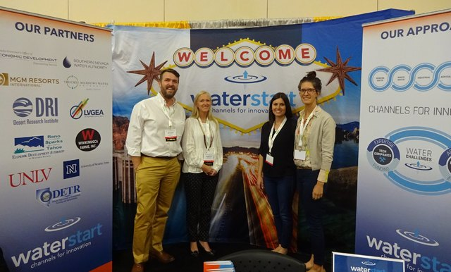 Craig A. Ruark, Las Vegas Business Press  WaterStart Executive Director Nathan Allen, left, with staff members Rebecca Shanahan, Cecilia Sample, and Raja Bushnell, pose in front of the WaterStart  ...