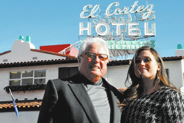 Buford Davis/Las Vegas Business Press El Cortez owner Kenny Epstein and daughter Alex Epstein mark the historic hotel-casino's 75 year anniversary in 2016.
