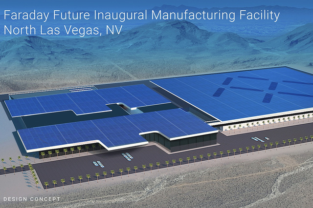 This architectural rendering shows the Faraday Future factory that is planned to be built in North Las Vegas at the Apex Industrial Park.  (Courtesy Faraday Future)