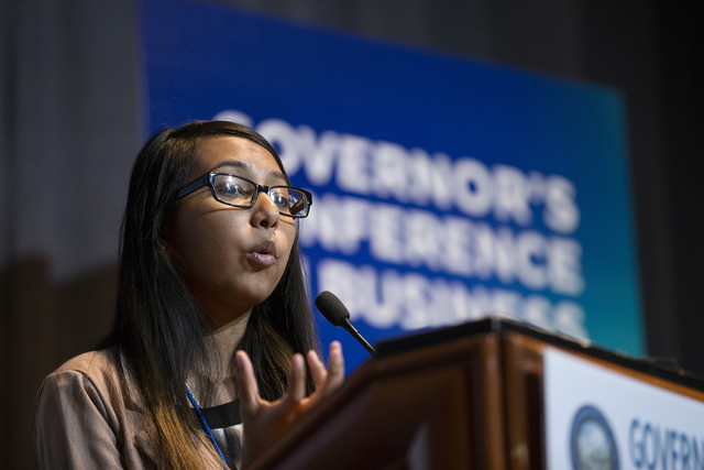 Jailene Vazquez of Remmedy gives her sales pitch in the Governor's Conference on Business Business Pitch Competition at the Rio Sept. 30. (Erik Verduzco/Las Vegas Business  Press)