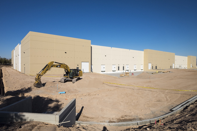 Construction continued at Henderson Freeways Crossing at Eastgate Road and Lake Mead Parkway. The property was featured on the NAIOP Southern Nevada bus tour. (Ulf Buchholz/Las Vegas Business Press)