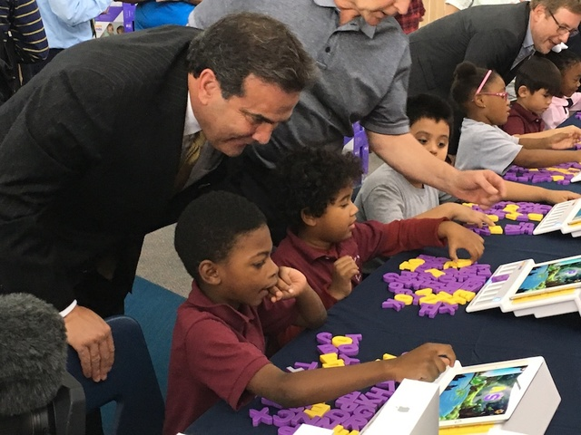 On behalf of Bank of Nevada, CEO John Guedry donated 42 iPads during a special presentation at the Andre Agassi College Preparatory Academy, a public charter school Nov. 1, 2016. (Courtesy)