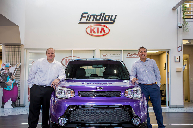 Findlay Kia executives Business Development Manager Mark Olson, left, and General Manager Byron Klemaske were recently named among the 2016 Top 100 Men of the Year by MyVegas magazine. (Courtesy)
