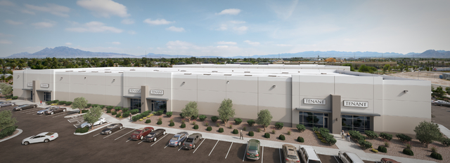 A rendering shows Marnell Properties' 133,000-square-foot industrial project, which is now under construction, at 1845 E. Russell Road.  (Courtesy)