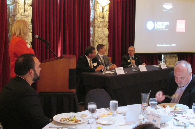 John Guedry, CEO of Bank of Nevada; Ryan Sulllivan, president and CEO of Bank of George; and Kirk Clausen, Nevada region president for Wells Fargo spoke Sept. 8 at the Las Vegas Country Club lunch ...