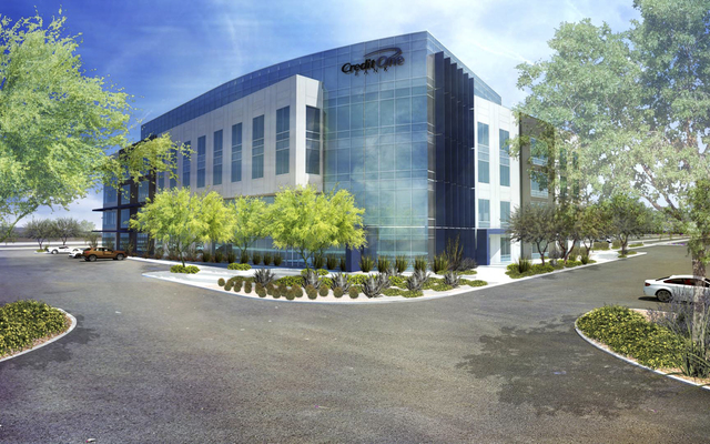 A rendering of Credit One Bank's planned 152,000-square-foot office building, near the 215 Beltway, between Durango and Buffalo drives. (Courtesy)