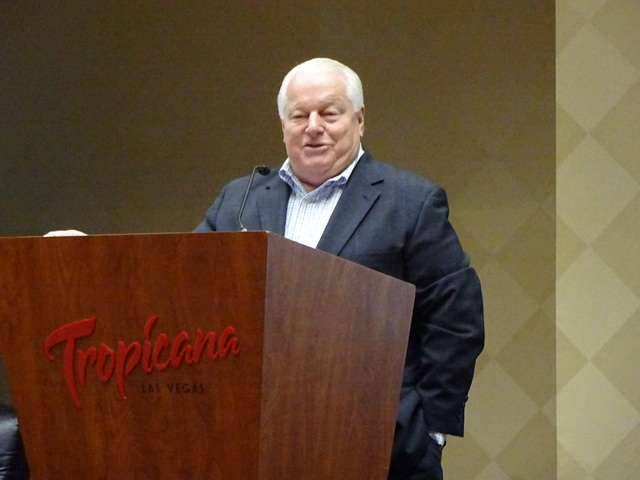 Roger Dow, president and CEO, U.S. Travel Association, gives an update on international travel to Las Vegas and the U.S. and predictions for growth. (Craig A. Ruark/Las Vegas Business Press)