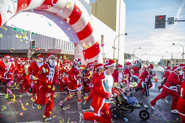 Santas took over Downtown Las Vegas for the 12th annual Las Vegas Great Santa Run on Dec. 3, benefiting Opportunity Village. (Courtesy)