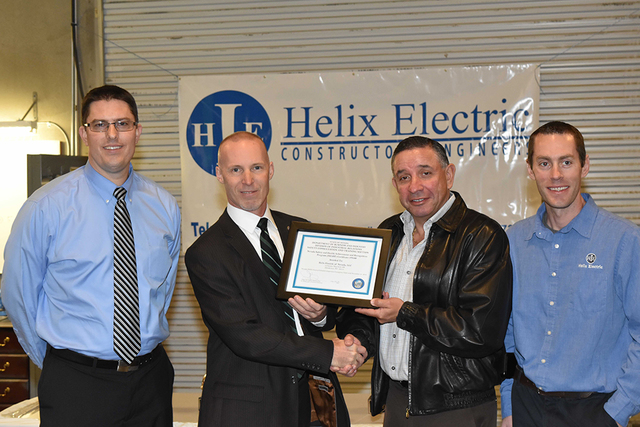 The Safety Consultation and Training Section of the State of Nevada's Division of Industrial Relations recognized Helix Electric of Nevada for their completion of the Safety and Health Achieveme ...