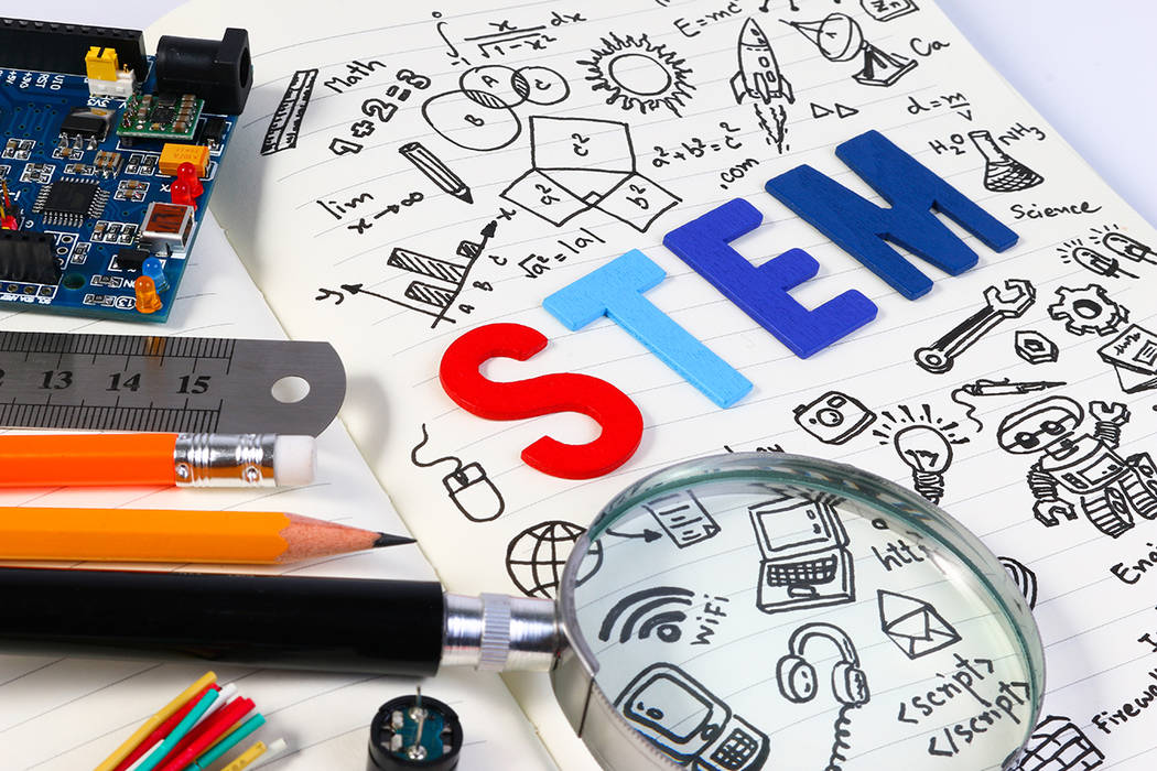 STEM education. Science Technology Engineering Mathematics. STEM concept with drawing background. Education background.STEM education. Science Technology Engineering Mathematics. STEM concept with ...