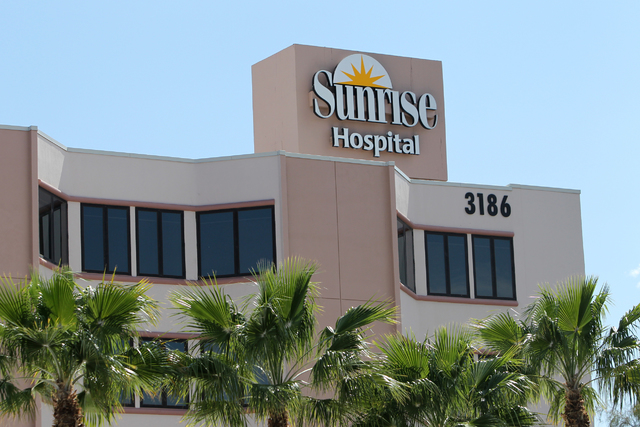 Sunrise Hospital and Medical Center at 3186 South Maryland Parkway, in Las Vegas is planning an expansion north of the existing building shown here. (Erik Verduzco/Las Vegas Review-Journal)