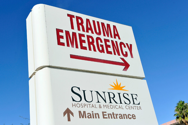Sunrise hospital plans to expand its current campus, adding a new ambulance drop-off area and main entrance. A directional sign at the hospital is shown here in 2014. (David Becker/Las Vegas Revie ...