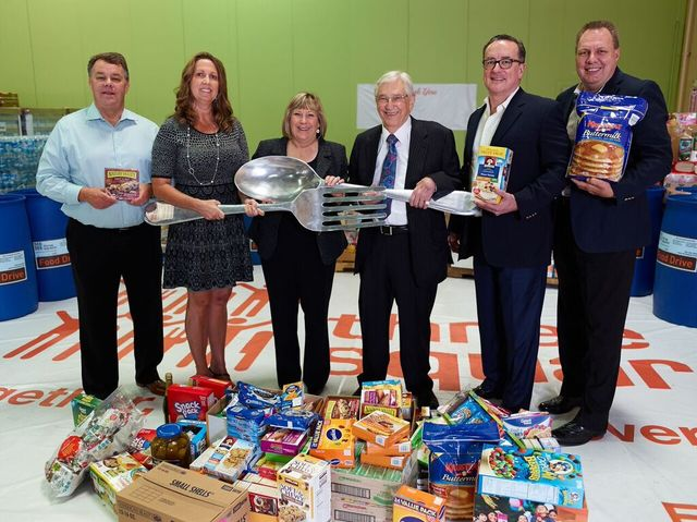 Three Square Food Bank chief financial officer Larry Scott, Three Square chief development officer Michelle Beck, Boyd Gaming chief diversity officer Marianne Johnson, Boyd Gaming executive chairm ...