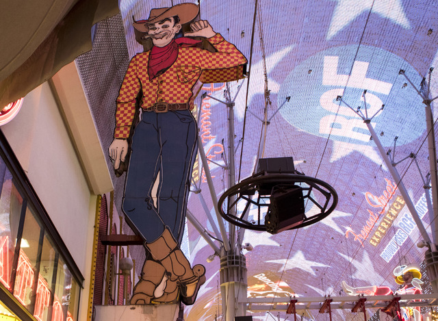 The Vegas Vic sign highlights the Fremont Street Experience in downtown Las Vegas. The city has called for a study on forming a business improvement district in downtown Las Vegas. The Downtown La ...