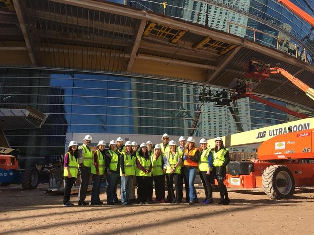A group from CREW took a hard-hat tour of the new T-Mobile Arena. Courtesy