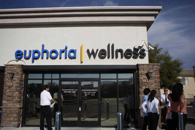 Marijuana dispensary Euphoria Wellness is seen during their ribbon cutting ceremony event in Las Vegas Tuesday, March 31, 2015. Guests received a preview tour of the marijuana dispensary which is  ...